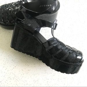 785db71f1084 BAMBOO Shoes - Bamboo brand black glitter flatform jelly shoes